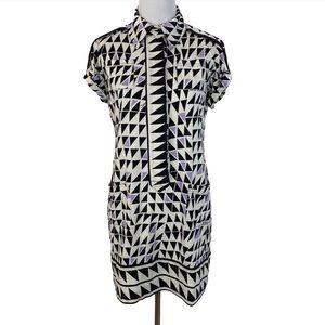 Diane von Furstenberg 6 Silk Mod Mini Shirt Dress